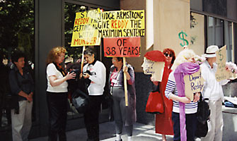 Diana with other women in front of the federal courthouse